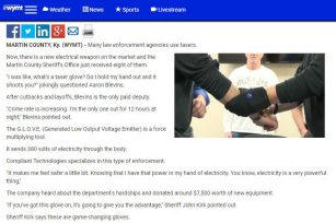 """Game-changing glove/Martin County Sheriff's Office receives """"shocking"""" weapons"""